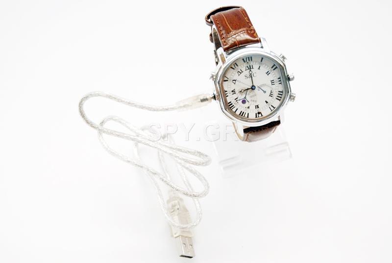 Κρυφή κάμερα σε ρολόι με δερμάτινο λουράκι